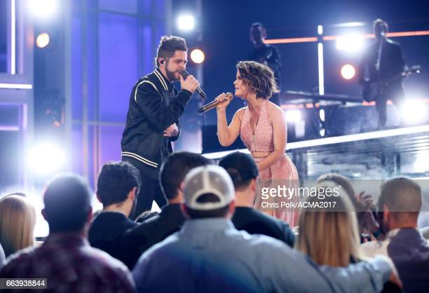 Singers Thomas Rhett and Maren Morris perform onstage during the 52nd Academy of Country Music Awards at TMobile Arena on April 2 2017 in Las Vegas...