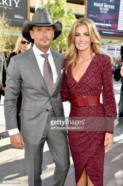 Singers Tim McGraw and Faith Hill attend the 52nd Academy Of Country Music Awards at Toshiba Plaza on April 2 2017 in Las Vegas Nevada