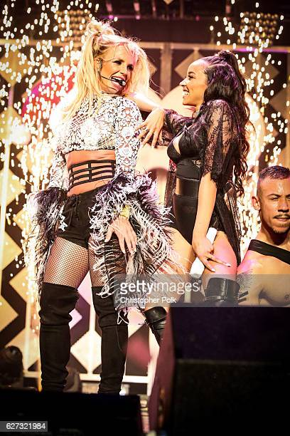 Singers Tinashe and Britney Spears perform at the 1027 KIIS FM's Jingle Ball 2016 on December 02 2016 in Los Angeles California