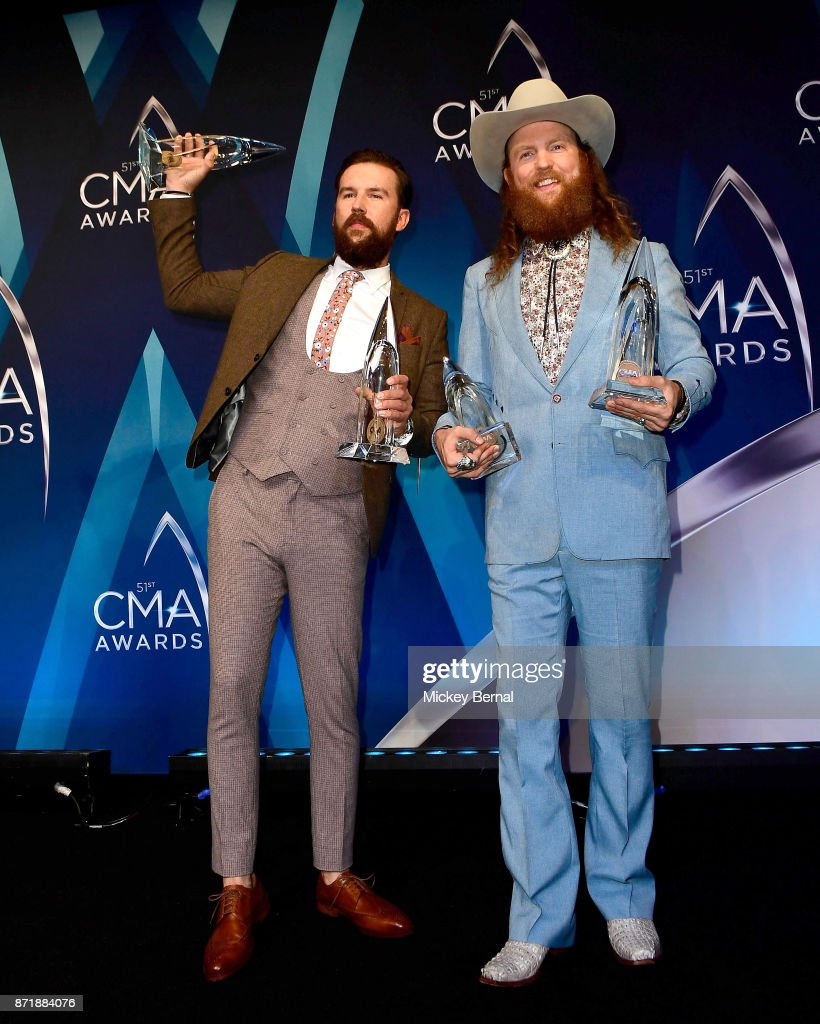 Singers T.J. Osborne and John Osborne attend the 51st annual CMA Awards at the Bridgestone Arena on November 8, 2017 in Nashville, Tennessee.