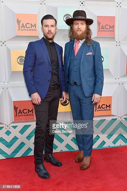 Singers TJ Osborne and John Osborne of the Brothers Osborne attend the 51st Academy of Country Music Awards at MGM Grand Garden Arena on April 3 2016...