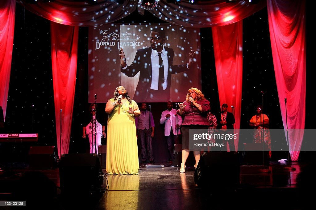Singers Tobbi White-Darks and Tommi White of Donald Lawrence & Company performs during 'The Experience with Donald Lawrence' at the DuSable Museum in Chicago, Illinois on AUG