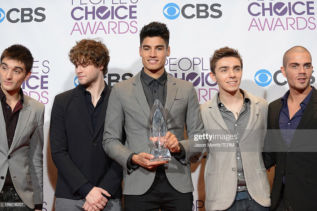 Singers (L-R) Tom Parker, Jay McGuiness, Siva Kaneswaran, Nathan Sykes and Max George of The Wanted, winners of Favorite Breakout Artist, pose in the press room at the 39th Annual People's Choice Awards at Nokia Theatre L.A. Live on January 9, 2013 in Los Angeles, California.