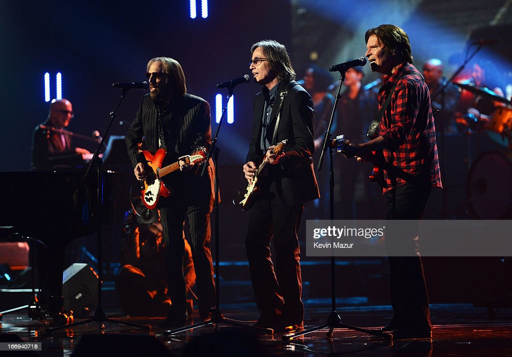 Singers Tom Petty, Jackson Browne and John Fogerty perform at the 28th Annual Rock and Roll Hall of Fame Induction Ceremony at Nokia Theatre L.A. Live on April 18, 2013 in Los Angeles, California.