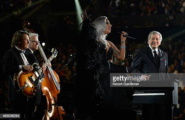 Singers Tony Bennett and Lady Gaga perform 'Cheek to Cheek' onstage during The 57th Annual GRAMMY Awards at the at the STAPLES Center on February 8...