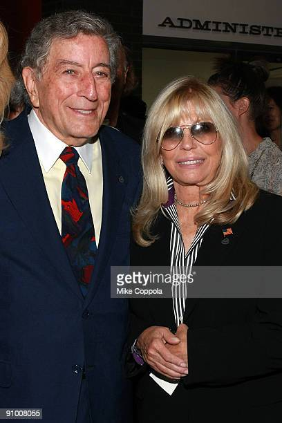 Singers Tony Bennett and Nancy Sinatra attend the ribbon cutting for the Frank Sinatra School of the Arts on September 21 2009 in New York City