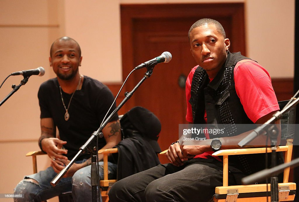 Singers Tony Rich and Lecrae attend GRAMMY Camp Basic Training at USC Thornton School of Music on February 6, 2013 in Los Angeles, California.