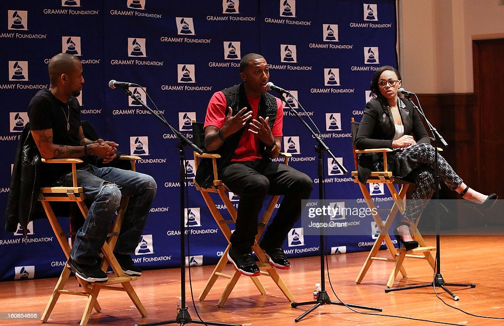 Singers Tony Rich, Lecrae and Elle Varner attend GRAMMY Camp Basic Training at USC Thornton School of Music on February 6, 2013 in Los Angeles, California.
