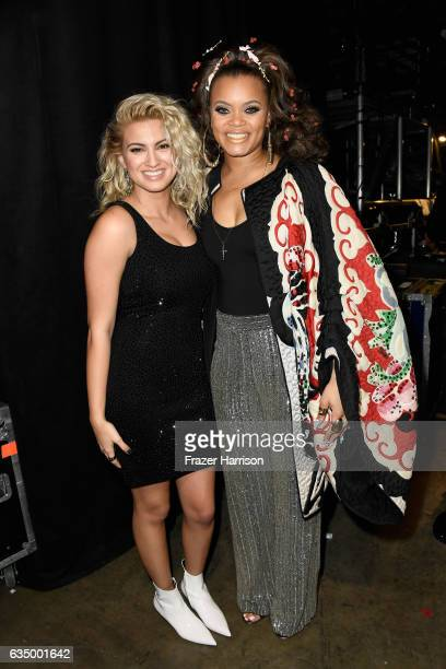 Singers Tori Kelly and Andra Day attend The 59th GRAMMY Awards at STAPLES Center on February 12 2017 in Los Angeles California