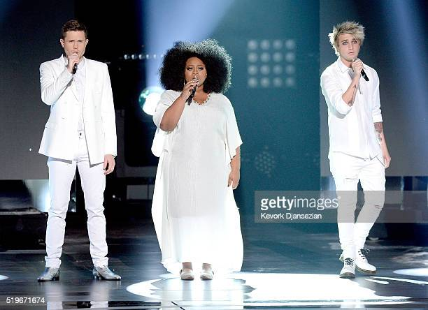 Singers Trent Harmon La'Porsha Renae and Dalton Rapattoni perform onstage during FOX's 'American Idol' Finale For The Farewell Season at Dolby...