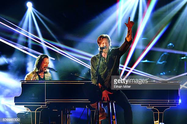 Singers Tyler Hubbard and Brian Kelley of Florida Georgia Line perform onstage during the 2016 American Country Countdown Awards at The Forum on May...
