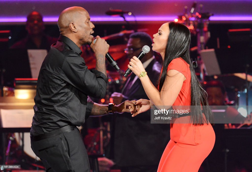 Singers <a gi-track='captionPersonalityLinkClicked' href=/galleries/search?phrase=Tyrese&family=editorial&specificpeople=206177 ng-click='$event.stopPropagation()'>Tyrese</a> and <a gi-track='captionPersonalityLinkClicked' href=/galleries/search?phrase=Elle+Varner&family=editorial&specificpeople=5926946 ng-click='$event.stopPropagation()'>Elle Varner</a> perform onstage during the 55th Annual GRAMMY Awards at Nokia Theatre on February 10, 2013 in Los Angeles, California.