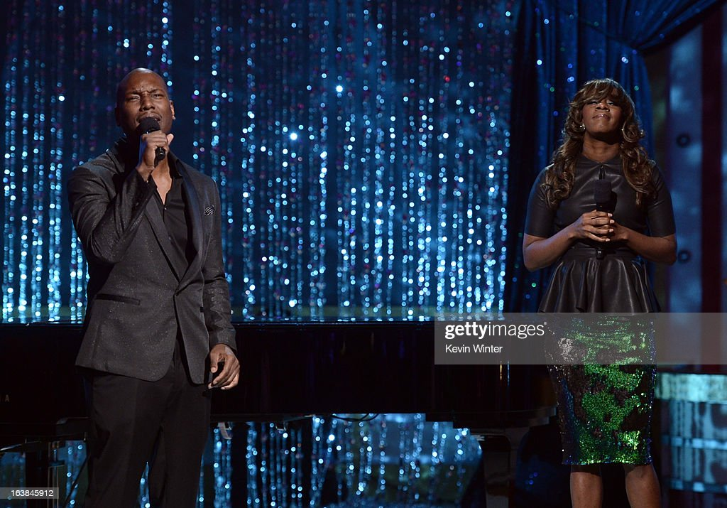 Singers Tyrese Gibson (L) and Le'Andria Johnson perform onstage during the BET Celebration of Gospel 2013 at Orpheum Theatre on March 16, 2013 in Los Angeles, California.