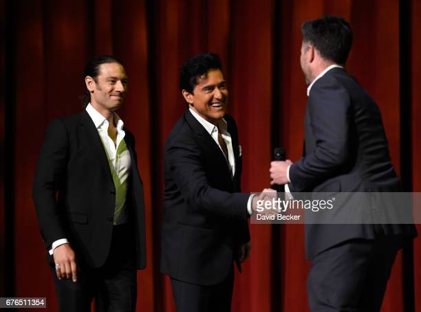 Singers Urs Buhler and Carlos Marin of Il Divo are greeted by Live Nation Las Vegas PresientÊKurt Melien as they arrive at a news conference...