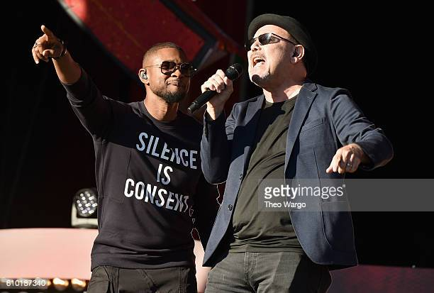 Singers Usher and Ruben Blades perform onstage at the 2016 Global Citizen Festival In Central Park To End Extreme Poverty By 2030 at Central Park on...