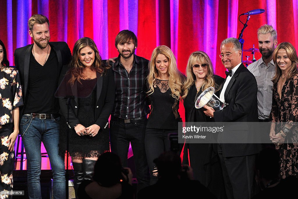 Singers Vanessa Carlton, Charles Kelley, Hillary Scott, Dave Haywood, Shakira, Del Bryant, BMI President, singers Adam Levine of Maroon 5 and Sheryl Crow present the 2014 BMI Icon Award to singer-songwriter Stevie Nicks (4th from right) onstage at the 62nd annual BMI Pop Awards at the Regent Beverly Wilshire Hotel on May 13, 2014 in Beverly Hills, California.