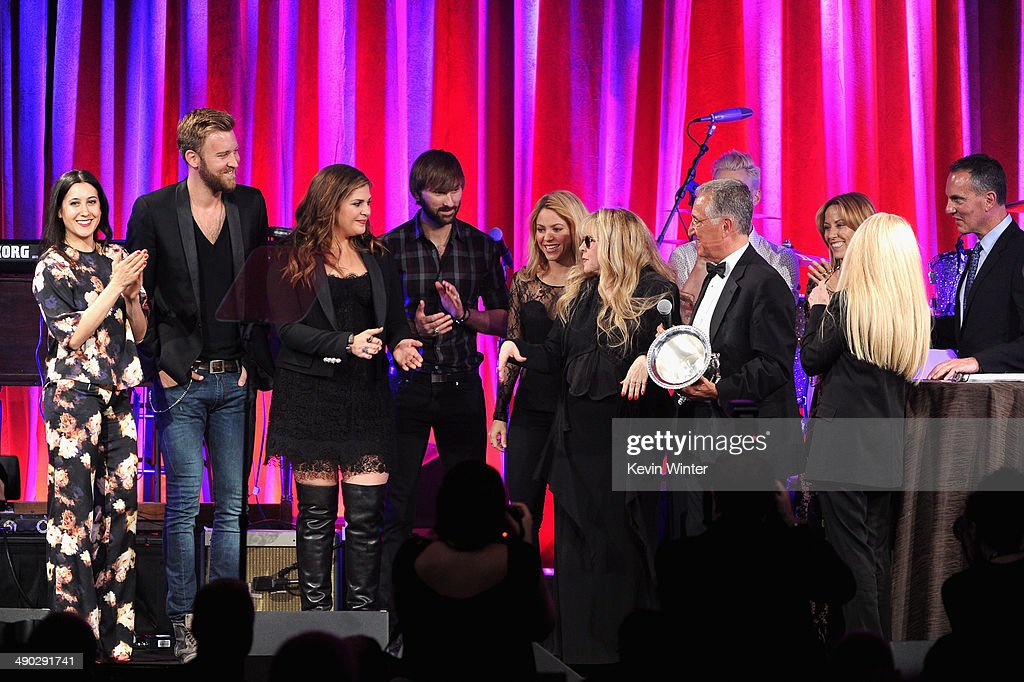 Singers Vanessa Carlton, Charles Kelley, Hillary Scott, Dave Haywood, Shakira, Del Bryant, BMI President, singers Adam Levine of Maroon 5, Sheryl Crow, Barbara Cane, BMI VP & General Manager, Writer/Publisher Relations and Michael O'Neill, BMI CEO present the 2014 BMI Icon Award to singer-songwriter Stevie Nicks (center) onstage at the 62nd annual BMI Pop Awards at the Regent Beverly Wilshire Hotel on May 13, 2014 in Beverly Hills, California.