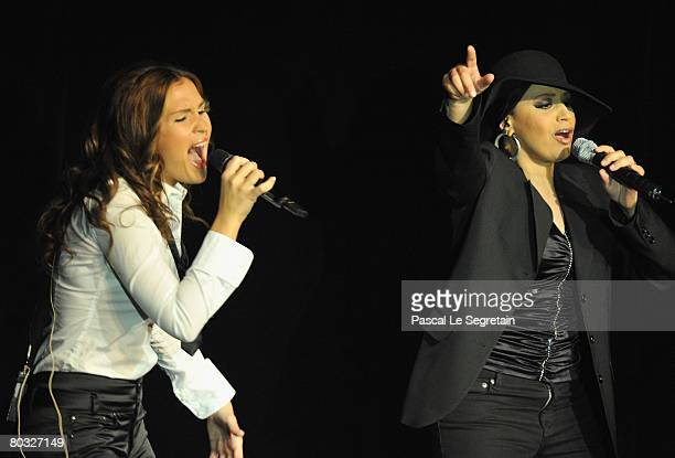 Singers Vitaa and Laam perform on stage during the Fight Aids Monte Carlo Gala on March 20 2008 in Monte Carlo Monaco