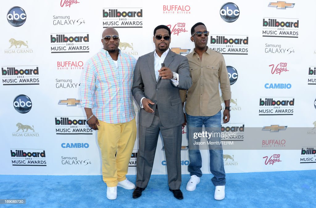 Singers Wanya Morris, Nate Morris and Shawn Stockman of Boyz II Men arrive at the 2013 Billboard Music Awards at the MGM Grand Garden Arena on May 19, 2013 in Las Vegas, Nevada.