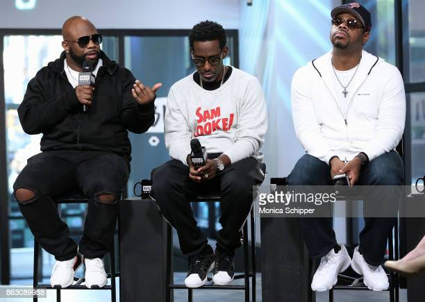 Singers Wanya Morris Shawn Stockman and Nathan Morris of Boyz II Men discuss their album 'Under the Streetlight' at Build Studio on October 19 2017...