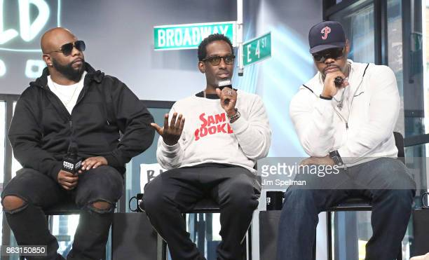 Singers Wanya Morris Shawn Stockman and Nathan Morris of Boyz II Men attend Build to discuss their album 'Under the Streetlight' at Build Studio on...