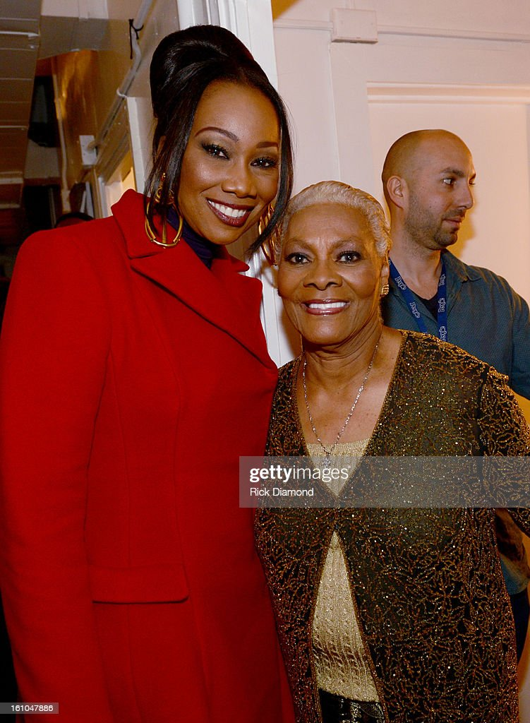 Singers Yolanda Adams and Dionne Warwick pose backstage at the GRAMMYs Dial Global Radio Remotes during The 55th Annual GRAMMY Awards at the STAPLES Center on February 8, 2013 in Los Angeles, California.