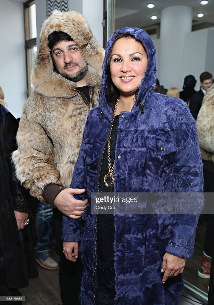 Singers Yusif Eyvazov and <a gi-track='captionPersonalityLinkClicked' href=/galleries/search?phrase=Anna+Netrebko&family=editorial&specificpeople=732328 ng-click='$event.stopPropagation()'>Anna Netrebko</a> attend the Helen Yarmak Int'l presentation during Mercedes-Benz Fashion Week Fall 2015 at The Crown Building on February 12, 2015 in New York City.