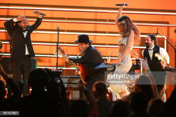 Singers Ziggy Marley Bruno Mars Rihanna and Damian Marley perform onstage during the 55th Annual GRAMMY Awards at STAPLES Center on February 10 2013...
