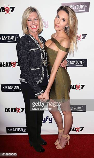 Singers/mother daughter Olivia NewtonJohn and Chloe Lattanzi attend the premiere of Syfy's 'Dead 7' at Harmony Gold on April 1 2016 in Los Angeles...