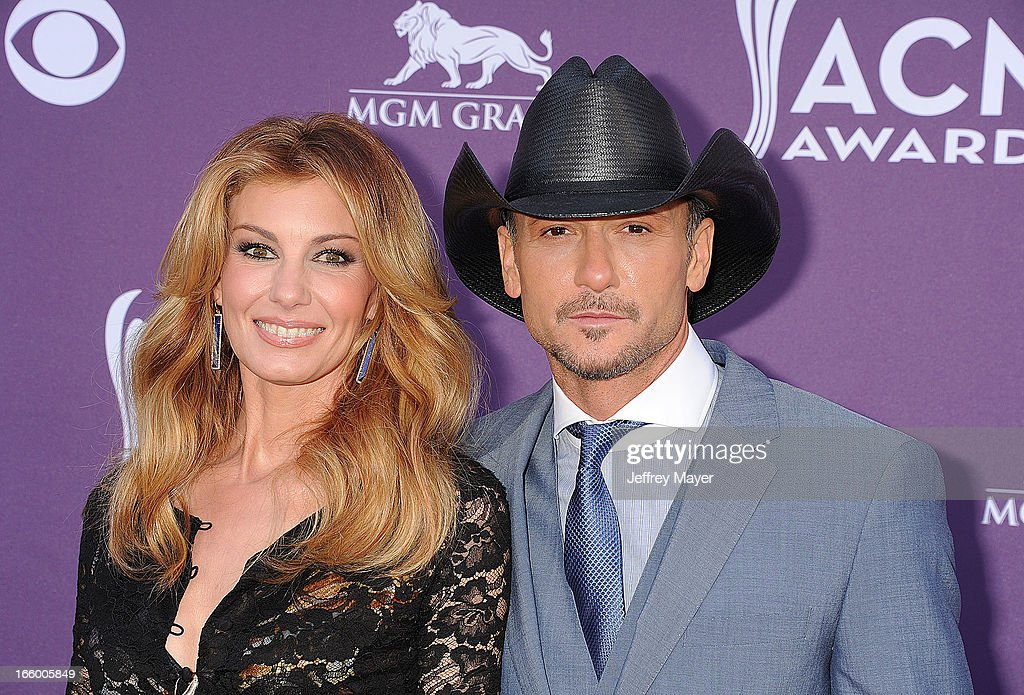 Singers/musicians Faith Hill and Tim McGraw arrive at the 48th Annual Academy of Country Music Awards at MGM Grand Garden Arena on April 7, 2013 in Las Vegas, Nevada.