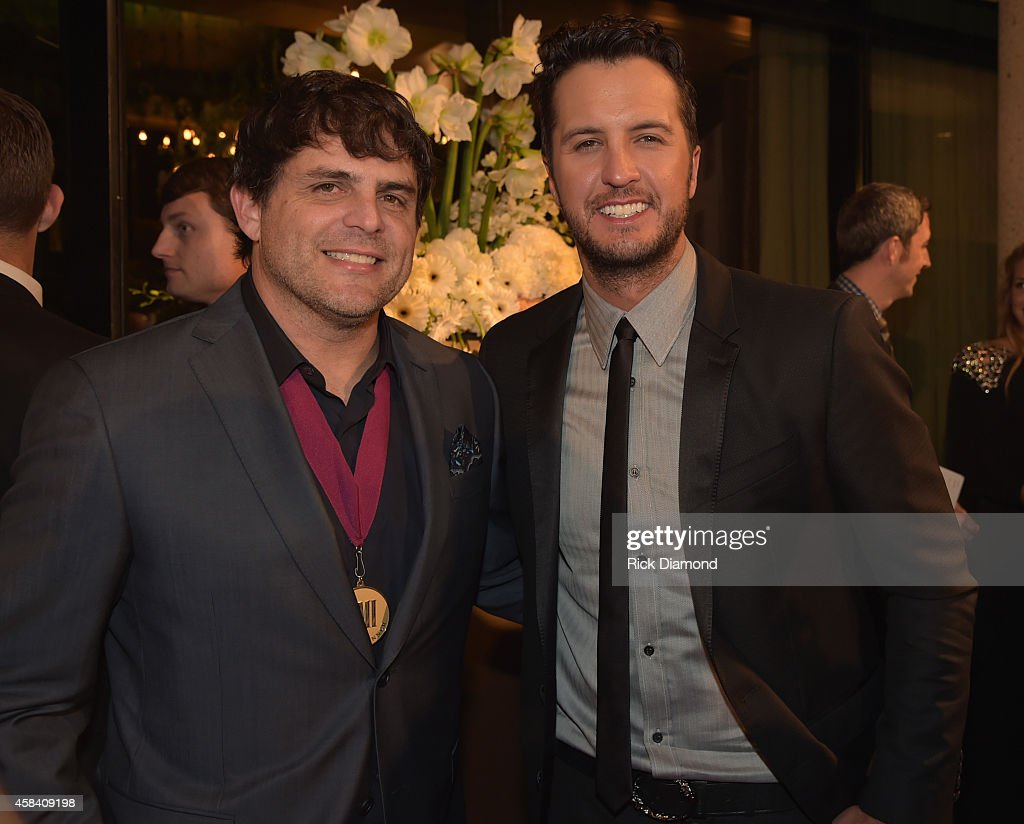 Singersonger Rhett Akins and singer Luke Bryan attend the BMI 2014 Country Awards at BMI on November 4 2014 in Nashville Tennessee