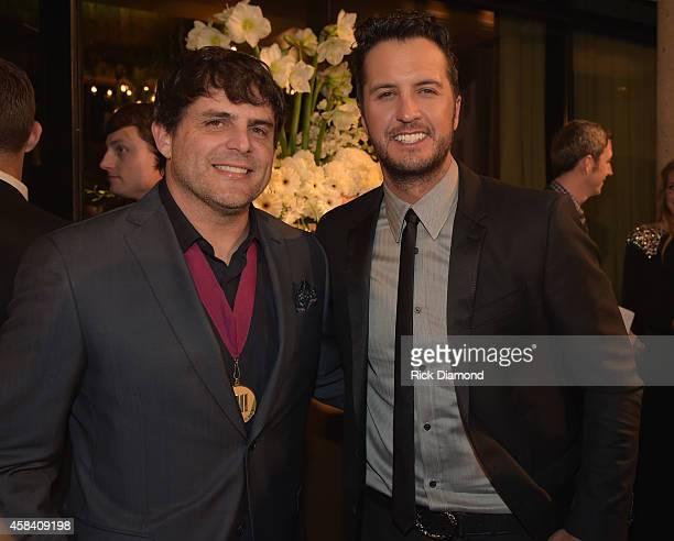 Singersonger Rhett Akins and singer Luke Bryan attend the BMI 2014 Country Awards at BMI on November 4 2014 in Nashville Tennessee