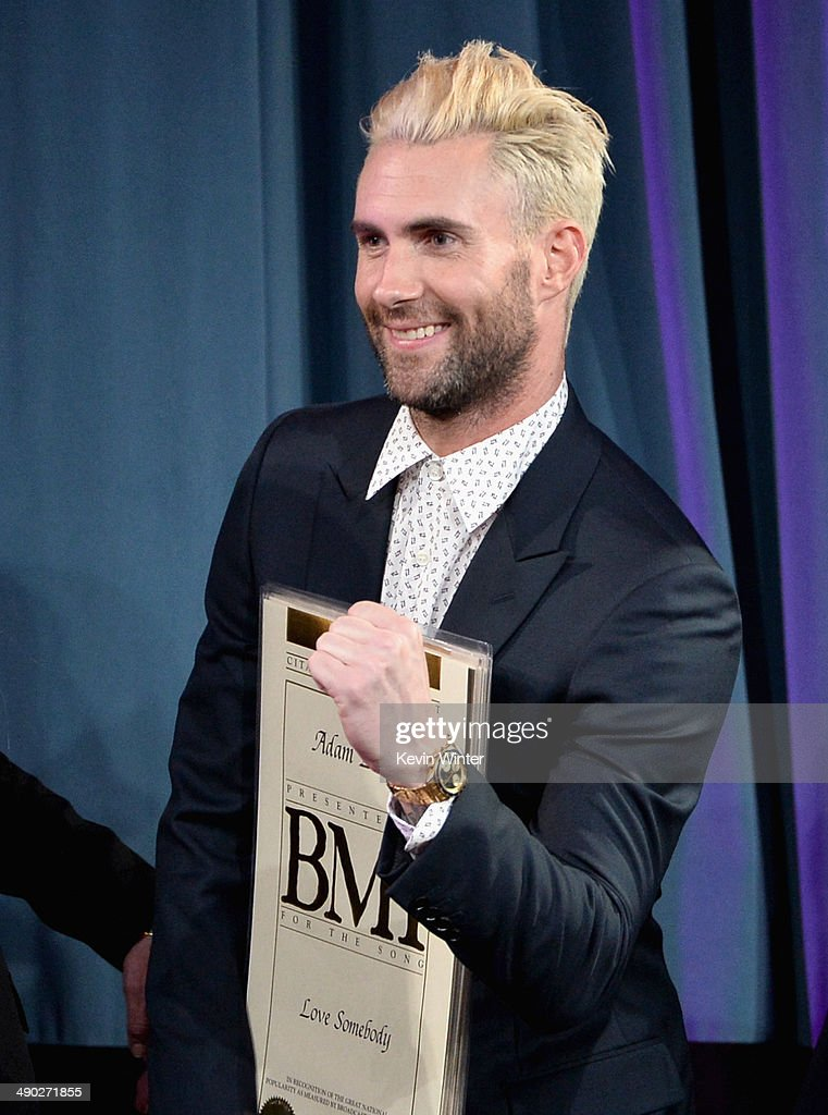 Singer-songwriter Adam Levine of Maroon 5 accepts the 2014 BMI Songwriter of the Year Award onstage at the 62nd annual BMI Pop Awards at the Regent Beverly Wilshire Hotel on May 13, 2014 in Beverly Hills, California.