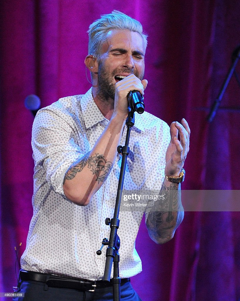 Singer-songwriter <a gi-track='captionPersonalityLinkClicked' href=/galleries/search?phrase=Adam+Levine+-+Singer&family=editorial&specificpeople=202962 ng-click='$event.stopPropagation()'>Adam Levine</a> of Maroon 5 performs onstage at the 62nd annual BMI Pop Awards at the Regent Beverly Wilshire Hotel on May 13, 2014 in Beverly Hills, California.