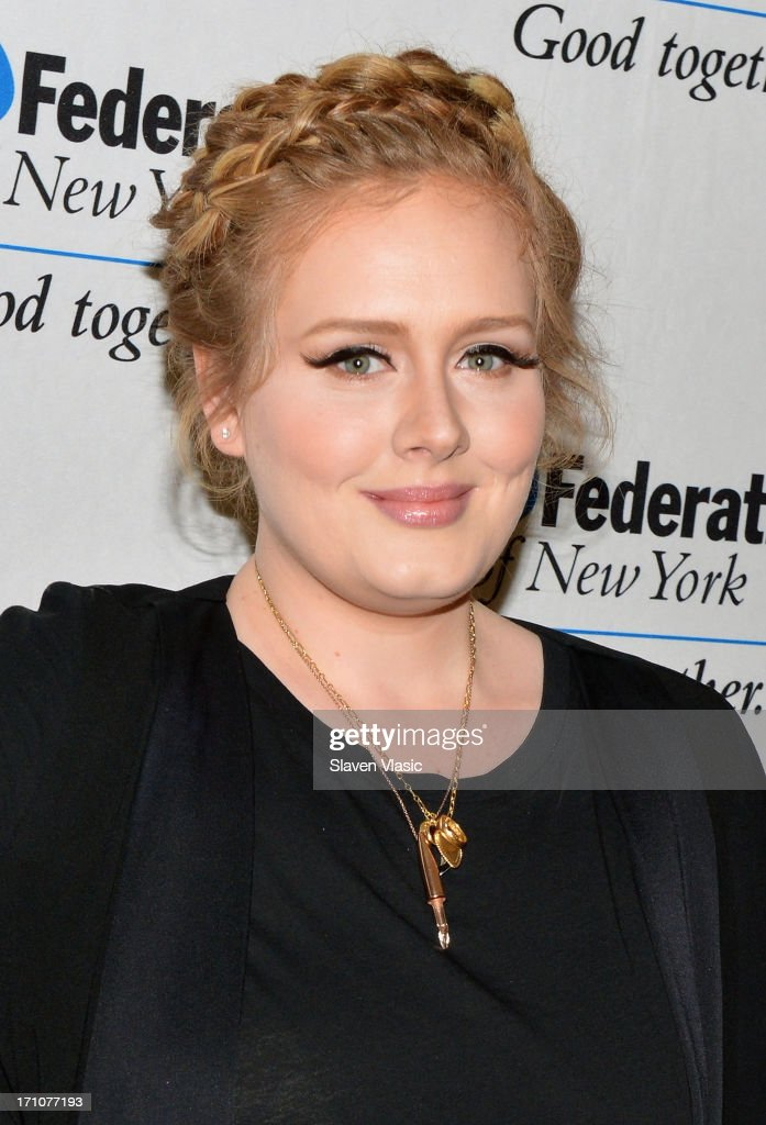 Singer/songwriter <a gi-track='captionPersonalityLinkClicked' href=/galleries/search?phrase=Adele+-+Singer&family=editorial&specificpeople=4898935 ng-click='$event.stopPropagation()'>Adele</a> attends UJA-Federation Of New York Music Visionary Of The Year Award Luncheon at The Pierre Hotel on June 21, 2013 in New York City.