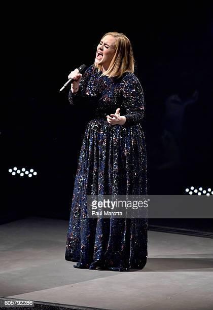 Singer/songwriter Adele performs at TD Garden on September 14 2016 in Boston Massachusetts