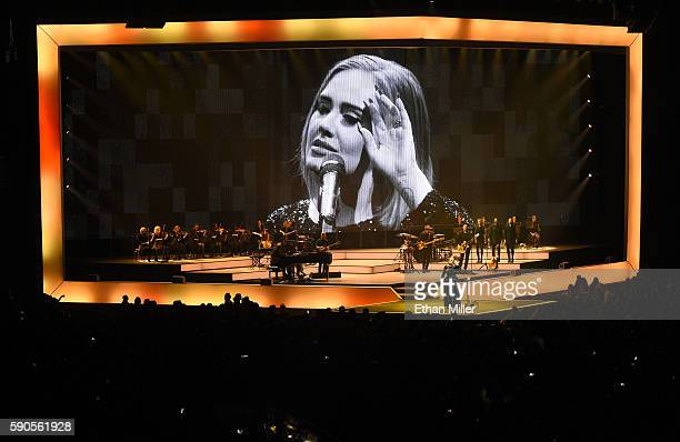 Singer/songwriter Adele performs at Talking Stick Resort Arena on August 16 2016 in Phoenix Arizona