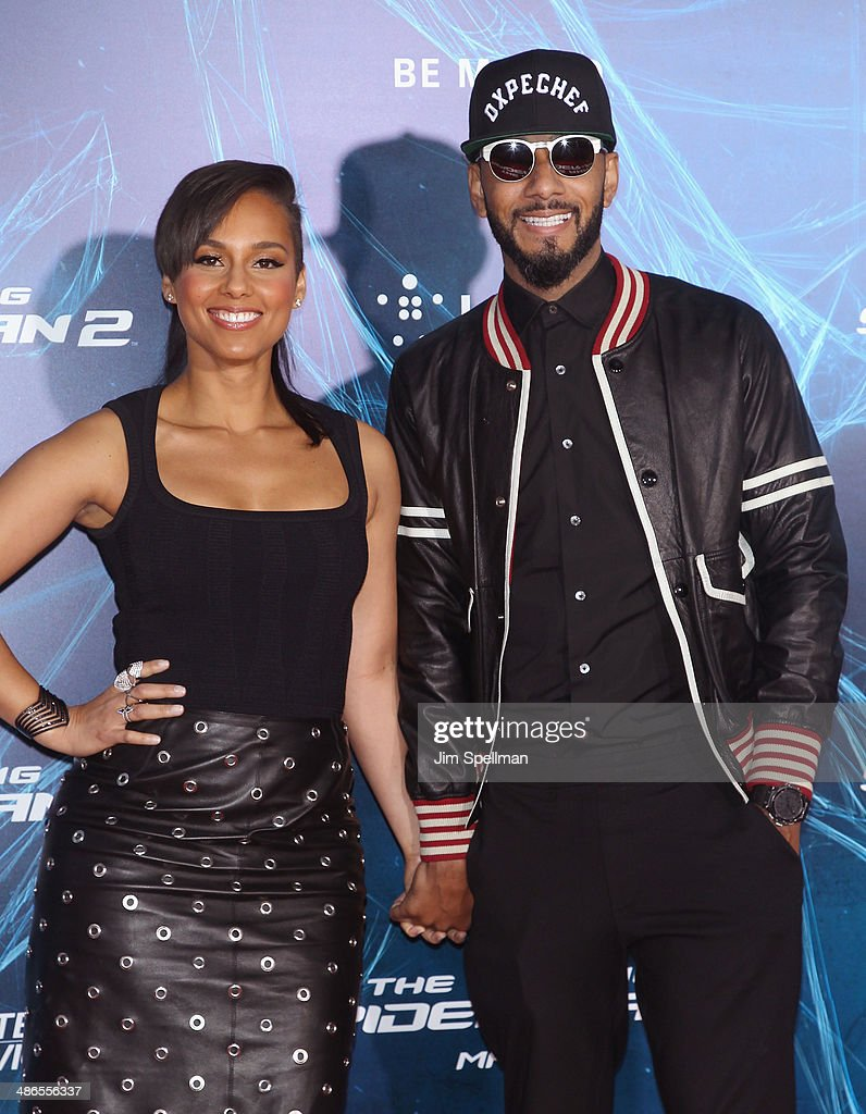 Singer/songwriter Alicia Keys and husband Swizz Beatz attend the 'The Amazing SpiderMan 2' New York Premiere on April 24 2014 in New York City
