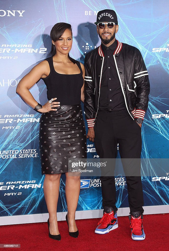 Singer/songwriter Alicia Keys and husband Swizz Beatz attend the 'The Amazing Spider-Man 2' New York Premiere on April 24, 2014 in New York City.