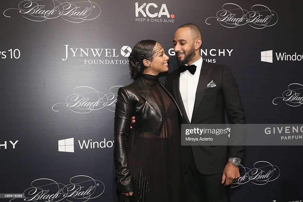 Singer/songwriter Alicia Keys and prodcuer Swizz Beatz attend 2015 'Keep A Child Alive' Black Ball at Hammerstein Ballroom on November 5 2015 in New...