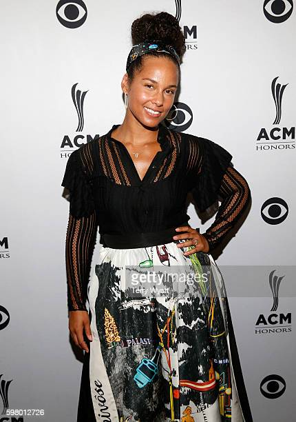 Singersongwriter Alicia Keys attends the 10th Annual ACM Honors at the Ryman Auditorium on August 30 2016 in Nashville Tennessee