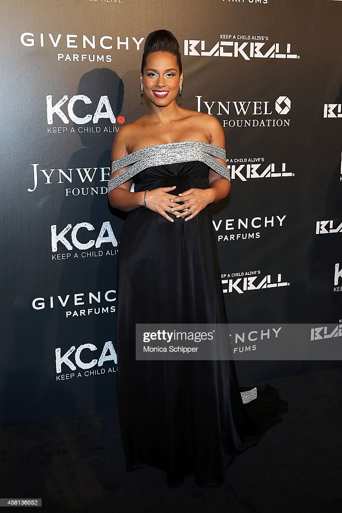 Singersongwriter Alicia Keys attends the 9th annual Keep A Child Alive Black Ball at Hammerstein Ballroom on October 30 2014 in New York City