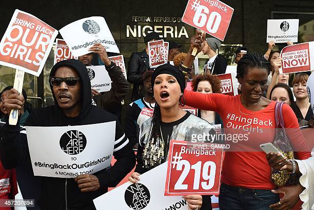 US singersongwriter Alicia Keys joins protesters with the 'Bring Back Our Girls' campaign during a demonstration in front of the Nigerian consulate...