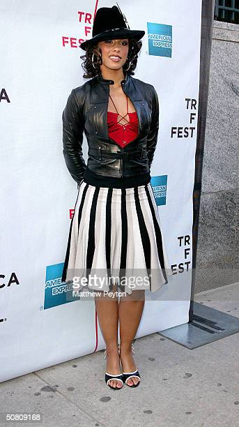 Singer/songwriter Alicia Keys poses at the screening of 'With All Deliberate Speed' during the 2004 Tribeca Film Festival at Stuyvesant High School...