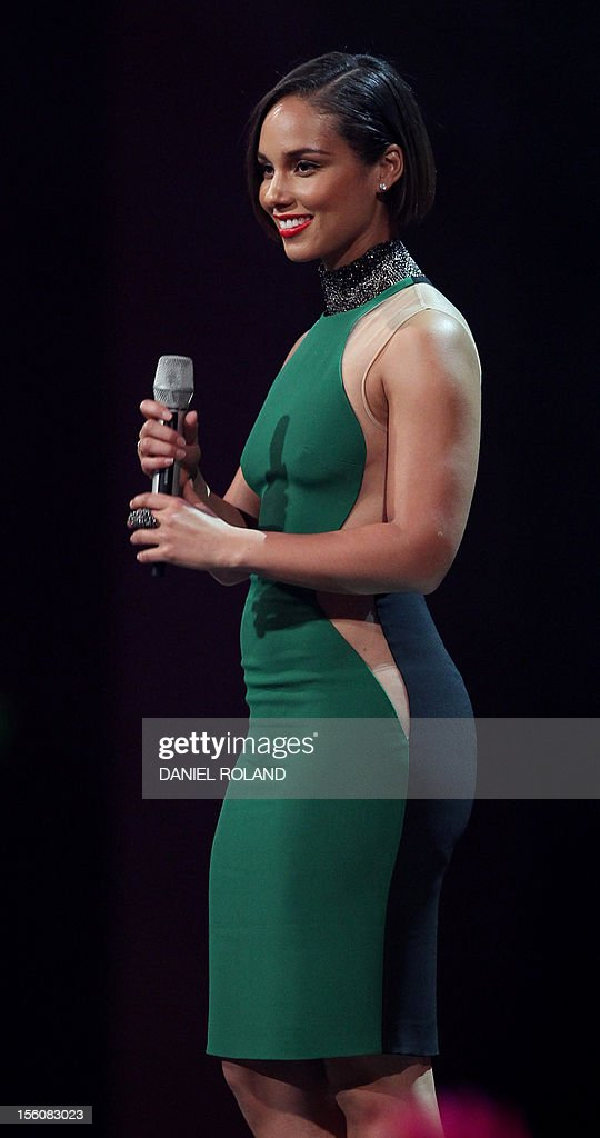 US singer-songwriter Alicia Keys speaks on stage during the 2012 MTV European Music Awards (EMA) at the Festhalle in Frankfurt am Main, central Germany on November 11, 2012.