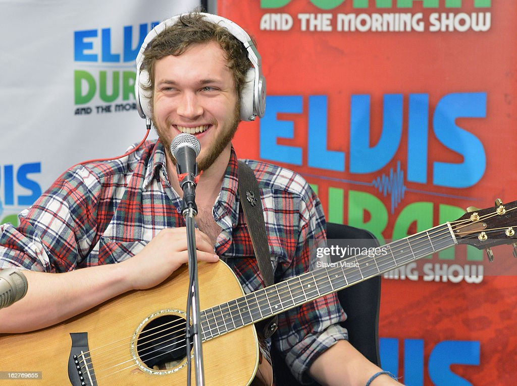 Singer/songwriter and American Idol's 11th season winner <a gi-track='captionPersonalityLinkClicked' href=/galleries/search?phrase=Phillip+Phillips&family=editorial&specificpeople=1651494 ng-click='$event.stopPropagation()'>Phillip Phillips</a> visits at Z100 Studio on February 26, 2013 in New York City.