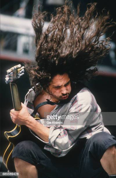 Singersongwriter and guitarist Chris Cornell performing with American rock group Soundgarden at Feyenoord Stadion Rotterdam Netherlands 23rd June 1992