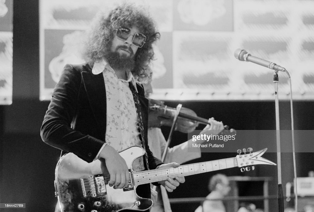 Singer-songwriter and musician Jeff Lynne, English pop group Electric Light Orchestra (ELO), at a rehearsal for the group's appearance on the BBC TV music show 'Top Of The Pops', London, 11th October 1973. The band are miming to their single 'Showdown'.