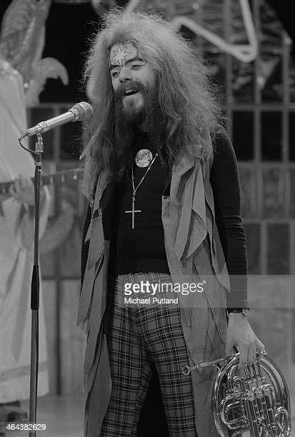Singersongwriter and musician Roy Wood performing with English pop group Wizzard on the Christmas Day edition of the BBC TV music show 'Top Of The...