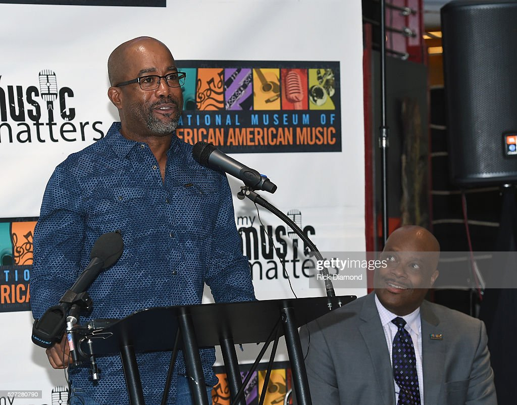 Singer/Songwriter and NMAAM National Chairperson Darius Rucker and H. Beecher Hicks III, NMAAM president and CEO attend NMAAM National Chairs And Fundraising Progress Press Conference at Nashville Vistor Center on May 2, 2016 in Nashville, Tennessee.